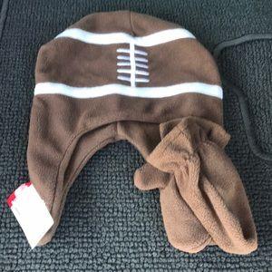 NWT Boys Brown Fleece Football Beanie Hat Mittens